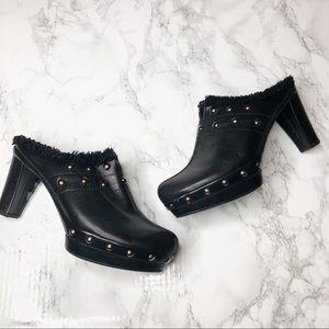 Stuart Weitzman Black Leather Studded Mules